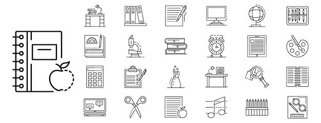 Conjunto de ícones de lição de casa, estilo de estrutura de tópicos Vetor Premium