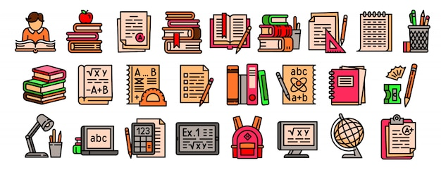 Conjunto de ícones de lição de casa Vetor Premium