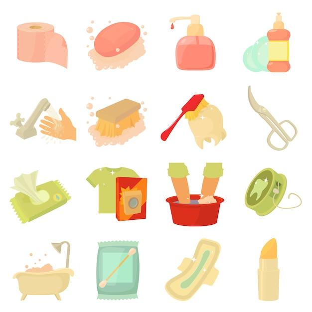 Conjunto de ícones de limpeza de higiene Vetor Premium