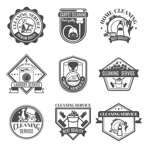 Conjunto de ícones de limpeza isolado Vetor grátis