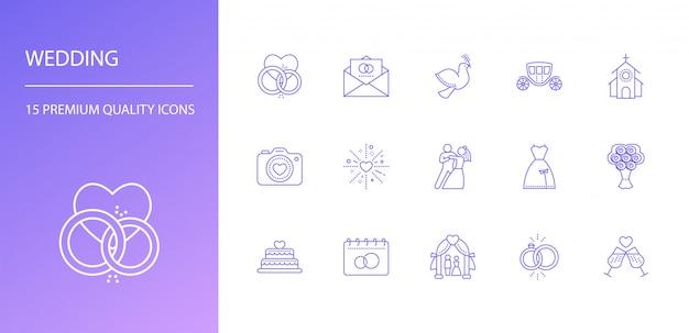 Conjunto de ícones de linha casamento Vetor Premium