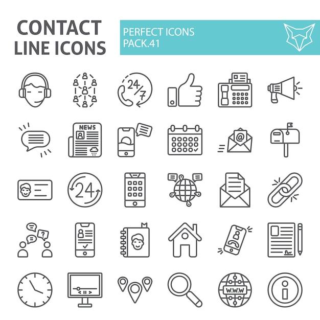 Conjunto de ícones de linha contato, coleção de comunicação Vetor Premium