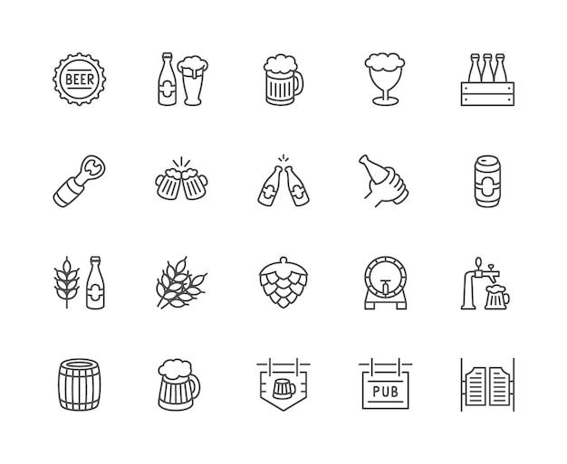 Conjunto de ícones de linha de cerveja. tampa de garrafa, caneca, abridor, grão de trigo, cone de lúpulo e muito mais. Vetor Premium