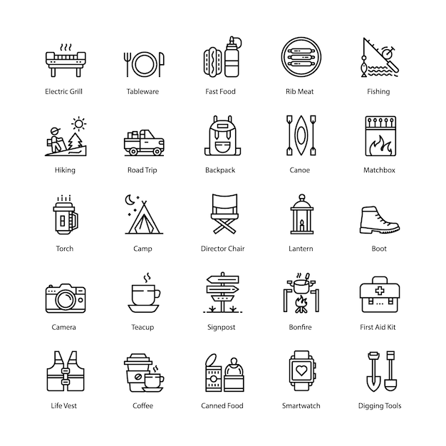 Conjunto de ícones de linha de churrasco e grill Vetor Premium