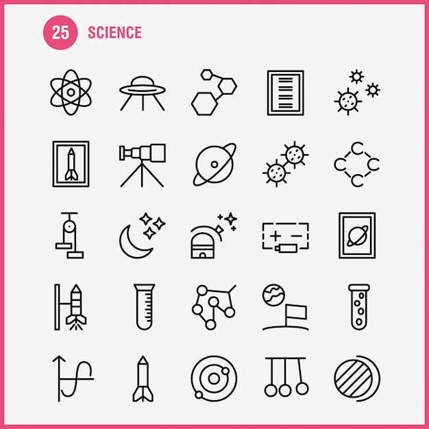 Conjunto de ícones de linha de ciência Vetor Premium