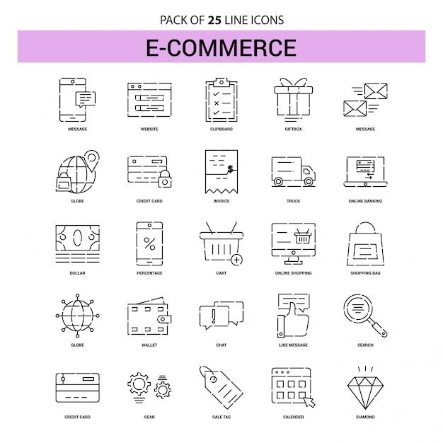 Conjunto de ícones de linha de comércio eletrônico - 25 estilo de contorno traçado Vetor Premium