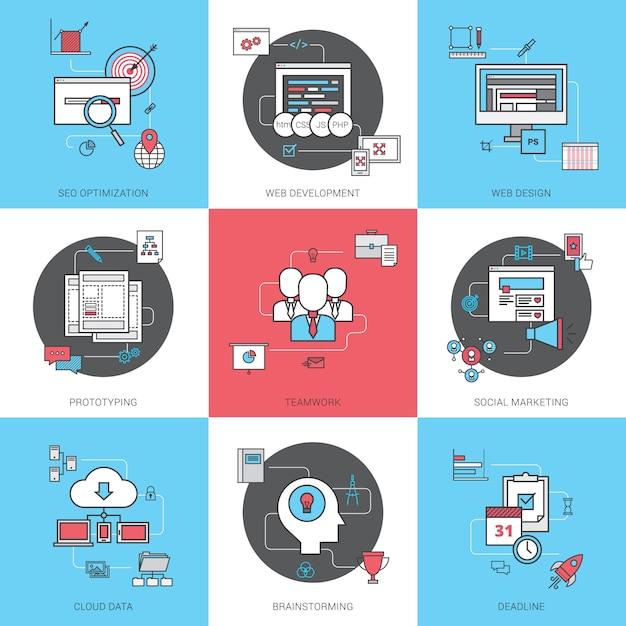 Conjunto de ícones de linha de conceito de negócio Vetor grátis