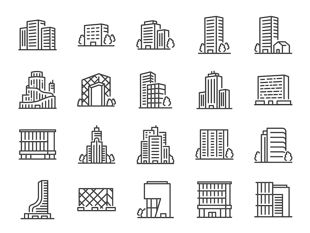 Conjunto de ícones de linha de construção. Vetor Premium