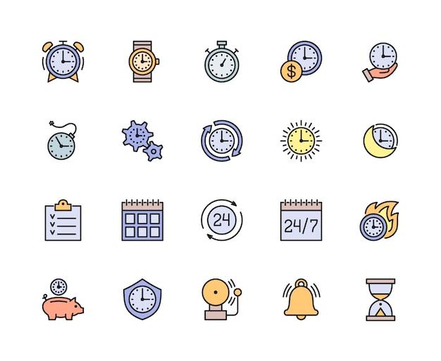 Conjunto de ícones de linha de cor de gerenciamento de tempo. calendário, agenda, lista de verificação e muito mais. Vetor Premium