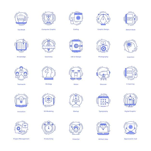 Conjunto de ícones de linha de desenhos criativos Vetor Premium