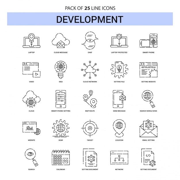 Conjunto de ícones de linha de desenvolvimento - 25 estilo de contorno traçado Vetor Premium