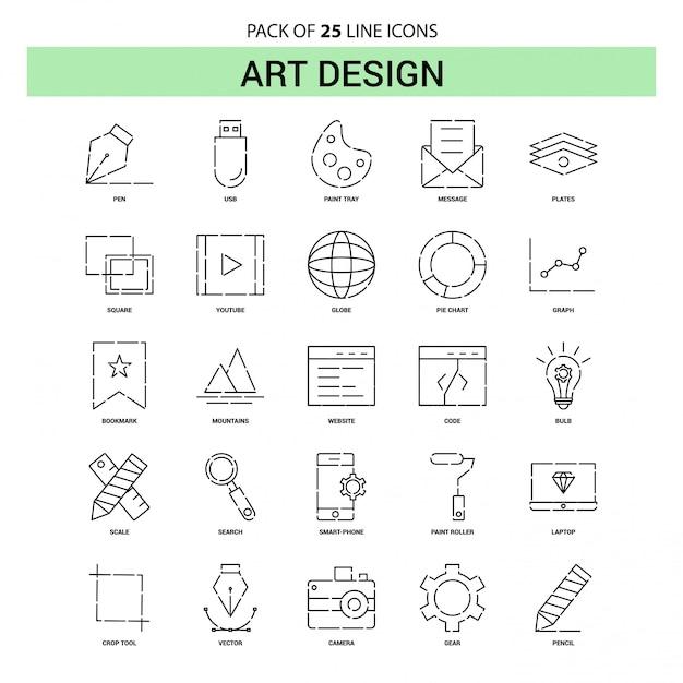 Conjunto de ícones de linha de design de arte - estilo de estrutura de tópicos de 25 tracejado Vetor grátis