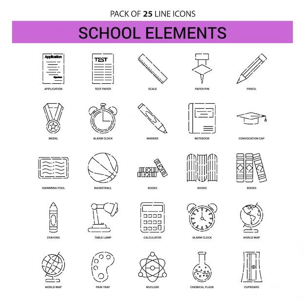 Conjunto de ícones de linha de elementos de escola - 25 estilo de contorno traçado Vetor Premium