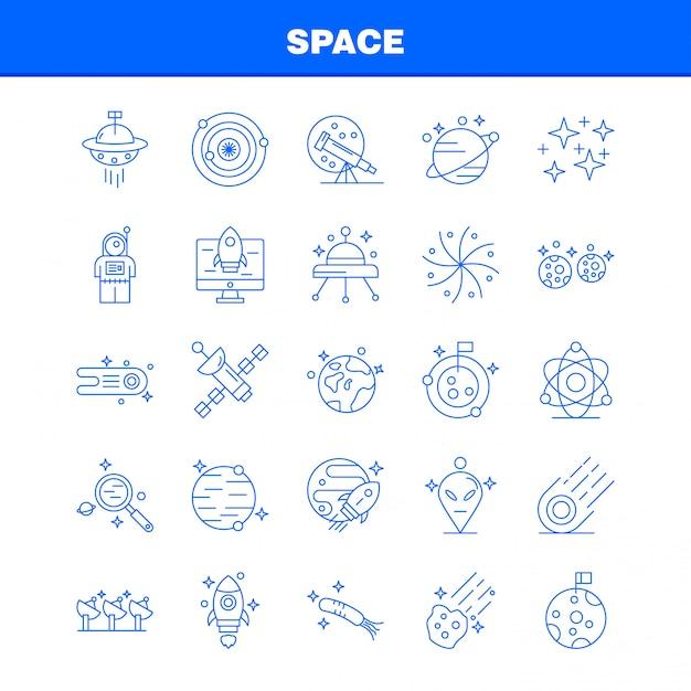 Conjunto de ícones de linha de espaço para infográficos, kit de ux / ui móvel Vetor Premium