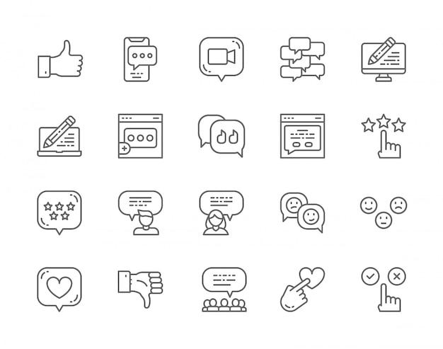 Conjunto de ícones de linha de feedback. Vetor Premium