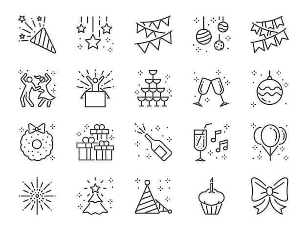 Conjunto de ícones de linha de festa. Vetor Premium
