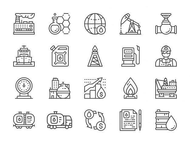Conjunto de ícones de linha de indústria de petróleo. caminhão de combustível, engenheiro, fábrica e mais. Vetor Premium
