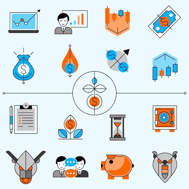 Conjunto de ícones de linha de investimento Vetor grátis