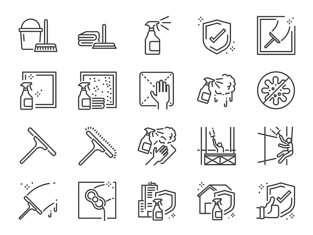 Conjunto de ícones de linha de limpeza de janela. Vetor Premium
