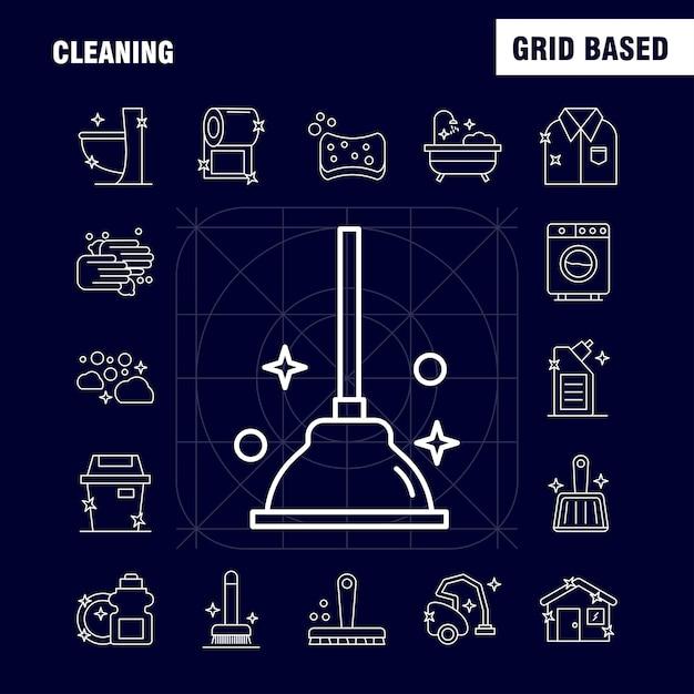 Conjunto de ícones de linha de limpeza: escova, escovar, limpar, esfregar, êmbolo, banheiro, wc, ferramenta Vetor Premium