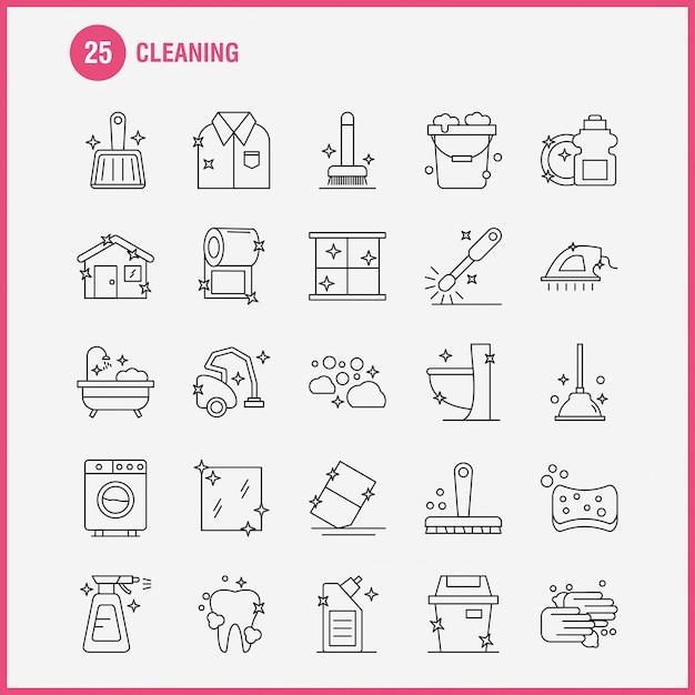 Conjunto de ícones de linha de limpeza Vetor Premium