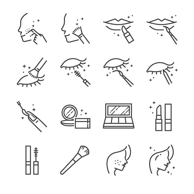 Conjunto de ícones de linha de maquiagem e cosméticos 2. Vetor Premium