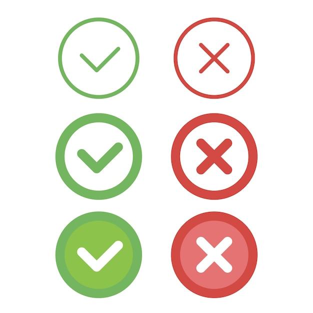 Conjunto de ícones de linha de marca de seleção. Vetor Premium