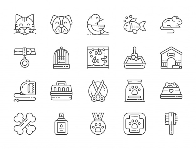 Conjunto de ícones de linha de pet shop Vetor Premium