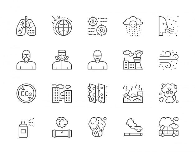 Conjunto de ícones de linha de poluição. Vetor Premium