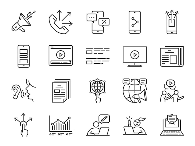 Conjunto de ícones de linha de publicidade. Vetor Premium