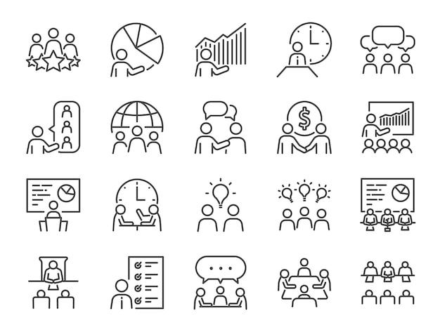 Conjunto de ícones de linha de reunião. Vetor Premium