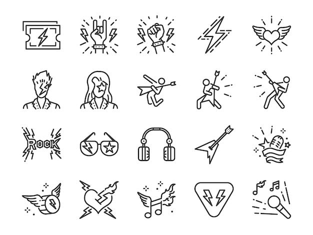 Conjunto de ícones de linha de rock and roll. Vetor Premium