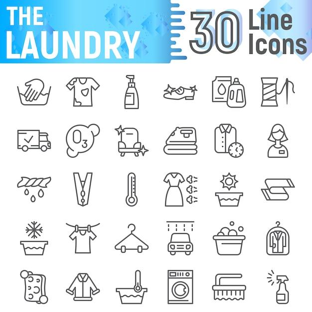 Conjunto de ícones de linha de roupa, coleção de símbolos limpos Vetor Premium