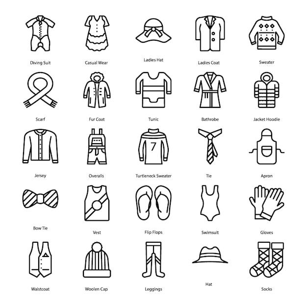Conjunto de ícones de linha de roupa Vetor Premium