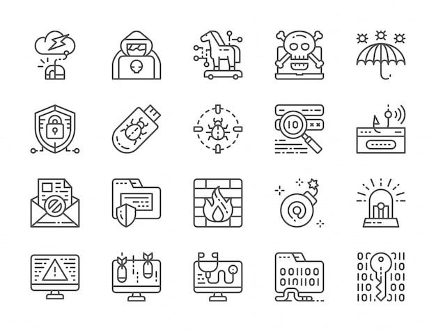 Conjunto de ícones de linha de segurança cibernética Vetor Premium