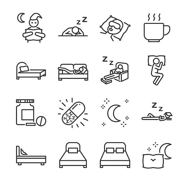Conjunto de ícones de linha de sono. Vetor Premium
