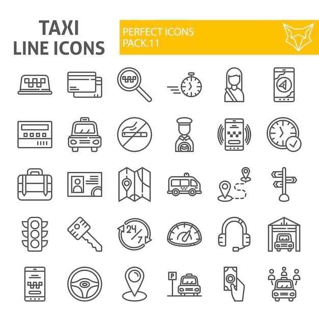 Conjunto de ícones de linha de táxi, coleção de carros Vetor Premium