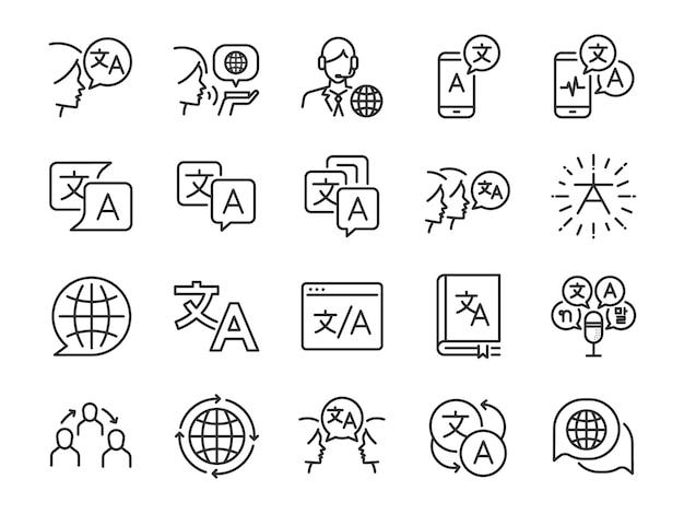 Conjunto de ícones de linha de tradução. Vetor Premium