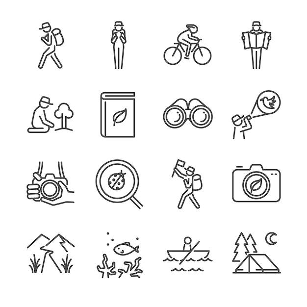 Conjunto de ícones de linha de turismo ecológico. Vetor Premium