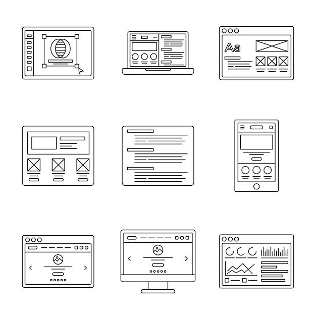 Conjunto de ícones de linha de wireframes e desenvolvimento web Vetor Premium