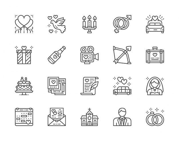 Conjunto de ícones de linha do casamento. cama nupcial, limusine, noiva, noivo e muito mais. Vetor Premium