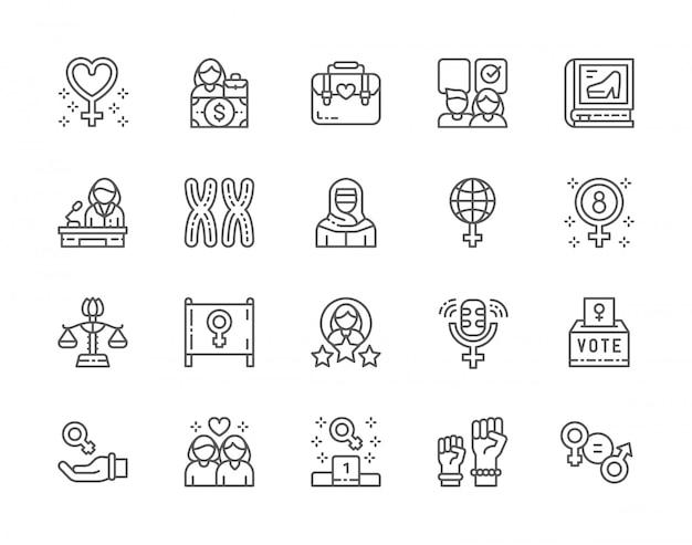 Conjunto de ícones de linha do feminismo. protesto feminino, salário, disparidade de gênero, cromossomos, poder feminino, casal de lésbicas e muito mais. Vetor Premium