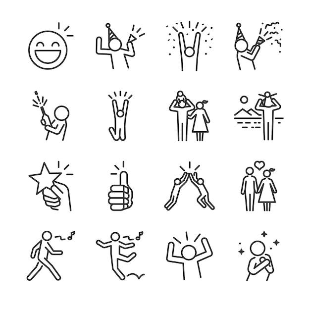 Conjunto de ícones de linha feliz. Vetor Premium
