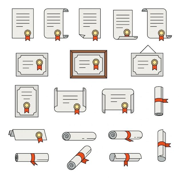 Conjunto de ícones de linha fina de certificado Vetor Premium