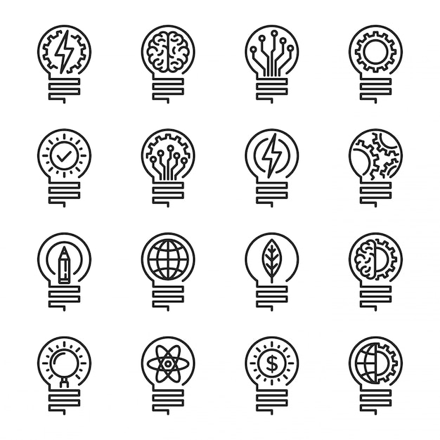 Conjunto de ícones de linha fina de lâmpada. curso editável. vector illustrati Vetor Premium