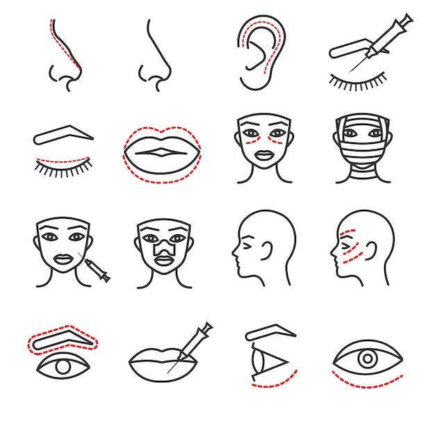 Conjunto de ícones de linha fina de vetor de cirurgia plástica rosto cosméticos Vetor Premium
