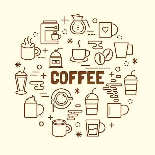 Conjunto de ícones de linha fina mínima de café Vetor Premium