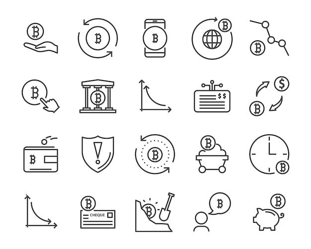 Conjunto de ícones de linha, ícone de criptomoedas, coleção de ícone de blockchain, ilustração vetorial Vetor Premium