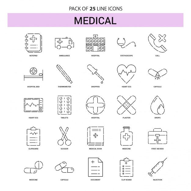 Conjunto de ícones de linha médica - 25 estilo de contorno traçado Vetor grátis