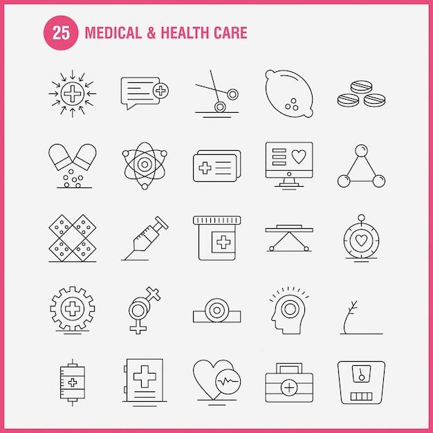 Conjunto de ícones de linha médica e de cuidados de saúde Vetor Premium
